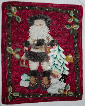 Father Christmas Hand-hooked Rug