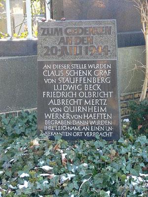 Gedenkstein für die Attentäter vom 20. JUli 1944