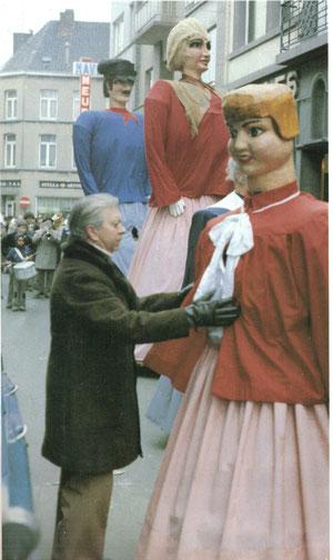 Les Géants au cortège de la Foire d'Hvier d'Ath en 1981