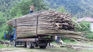 中国国内向けの竹材の出荷です