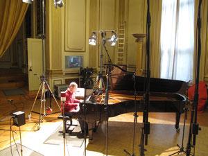 Während der Gesamtaufnahme der Études pour piano von György Ligeti, Siemensvilla Berlin, September 2011 (Foto: privat)