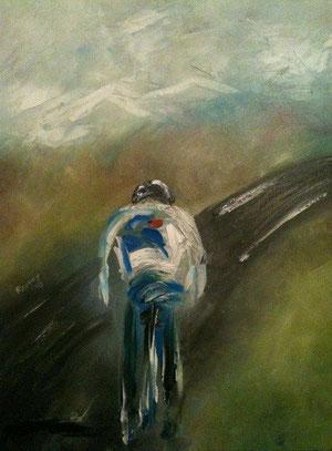 Route - Peinture à l'huile - 46 x 55