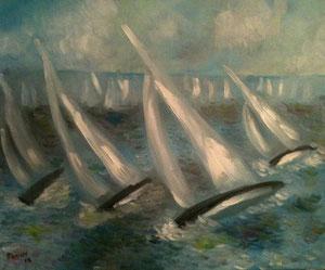 Voiles - Peinture à l'huile - 61 x 50