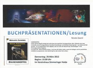 Ankündigung für Lesung in Wien am 29.3.2012