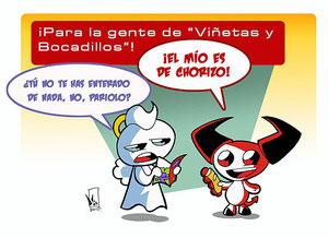 """Dibujo de Ángelo y Evilio dedicado al programa """"Viñetas y Bocadillos""""."""