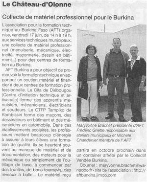 Article de Ouest France  (La Roche-sur-Yon - Littoral)