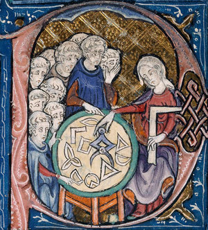 A woman teaching geometry: Illuminated initial from a manuscript of ancient philosophical works, 1265-99.