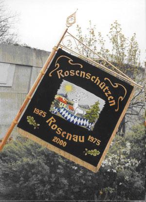 Rückseite der Vereinsstandarte der Rosenschützen