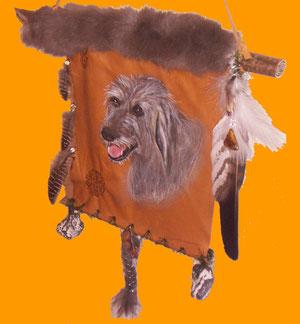 Irish-Wolfhound-Portrait von Duncan auf Leder mit Accessoires