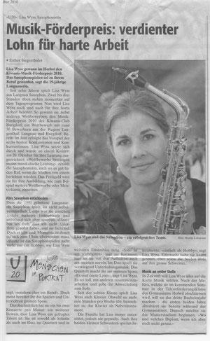 Artikel in der Wochenzeitung, November 2010