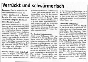 Artikel in der Wochenzeitung, Januar 2013