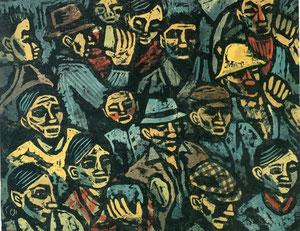工場区の人々 1933年制作 (版画) 小野忠重展 町田市立国際版画美術館カタログより転載