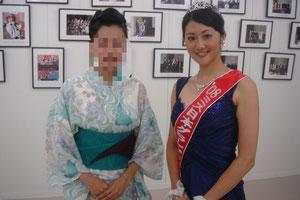 2008年度のミス日本の鈴木恵理さん.なんと私の時のゆかたコンテストでパフォーマンス賞を受賞していた子。翌年ミス日本ってすごい^^!志が違います。今はCAになったみたいです。とってもかわいらしい感じのいい女性でした^^  またもや私は目つぶり写真しかなく・・・そんな私。