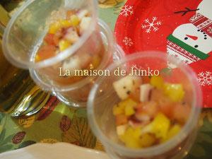 タコとセロリとフルーツトマトと黄パプリカのマリネ
