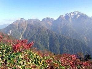 下山時、大猫平の紅葉と剱岳と赤谷山。左奥に鹿島槍