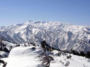 三方岩岳山頂から白山