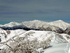大日ケ岳山頂近くから白山,別山,三ノ峰