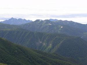 穂高連峰と三俣蓮華岳と双六岳方面
