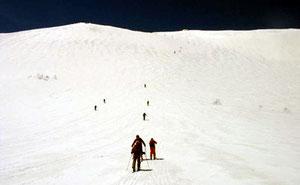 この大斜面を登ると山頂です