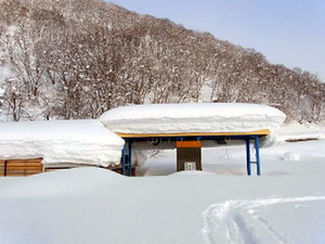 白川郷側の白山スーパー林道ゲートも雪の中 ここを左へ