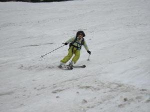 それで真ん中の斜面を滑りました。2本目の私です