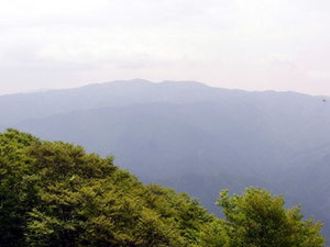 東尾根コース・岩場の展望台から金糞岳