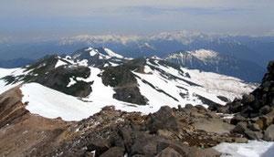 乗鞍岳山頂から乗鞍連山を見下ろす。後ろに穂高連峰