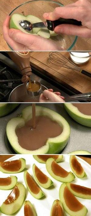 Hechar caramelo a la manzana...