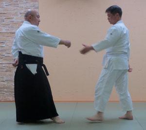 ①左足を軸足とし陰の魄氣右半身で下段に与える 受けは逆半身片手取り