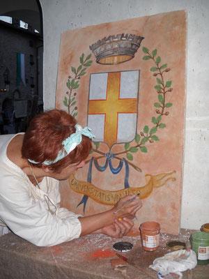 affresco - stemma di Valvasone.