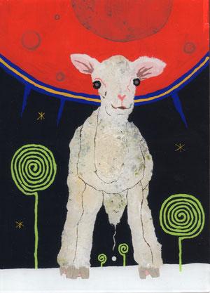 「ヤギと芽」 アクリル、他/ガラス絵
