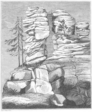 Granitfelsen am Dreisesselgebirge, aus GÜMBEL, Gotha 1868