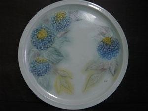 Plat à tarte hortensias