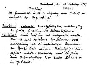 Auszug aus Limbacher Gemeinderatssitzung vom 15.02.1947
