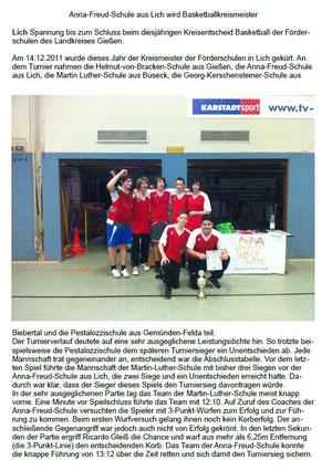 Artikel zum Basketballturnier der Förderschulen