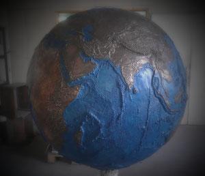Globe terrestre en bronze , Fonderie des Cyclopes, Mérignac Bordeaux