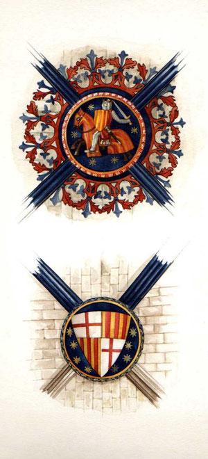 il Re d'Aragona a cavallo e lo stemma della città di Barcelona, chiavi di volta della navata centrale