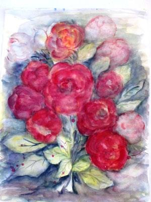 Rosen ,nicht sehr gelungen aber mit Wasser aus der Lebensquelle gmalt
