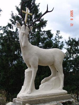 2005 Figurengruppe Hl. Hubertus mit Hirsch / Walkenstein / Zogelsdorfer Kalksandstein