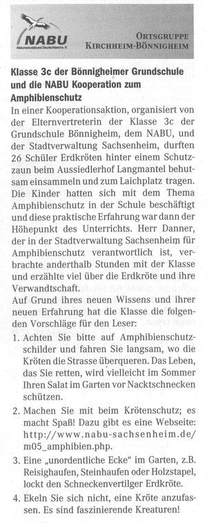 Bönnigheimer Nachrichten Nr. 17 vom 01.03.2006 über Krötenaktion der Schule mit dem NABU
