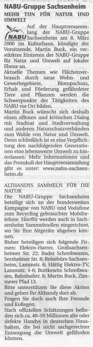 Nachrichtenblatt vom 07.04.2006 Bericht über Jahreshauptversammlung und Aufruf Althandysammeln