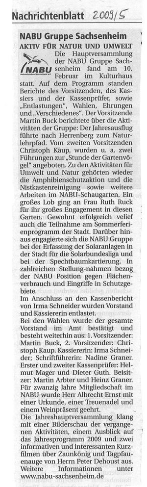 Nachrichtenblatt 2009/5 über NABU-Jahreshauptversammlung