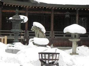 拝殿前の狛犬(右) 望遠カメラ撮影