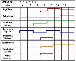 Gráfico de período de capacidades coordinativas