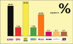 Schwarz, gelb. Oder besser gesagt: Gelb, schwarz. Die Schüler der 10a haben sich für eine klare (wenn auch verdrehte) Koalition entschieden.