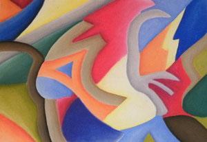 Pastellkreiden, abstrekt, 42 x 61 cm