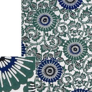 Печать katazome и окрашивание текстиля в красителе индиго