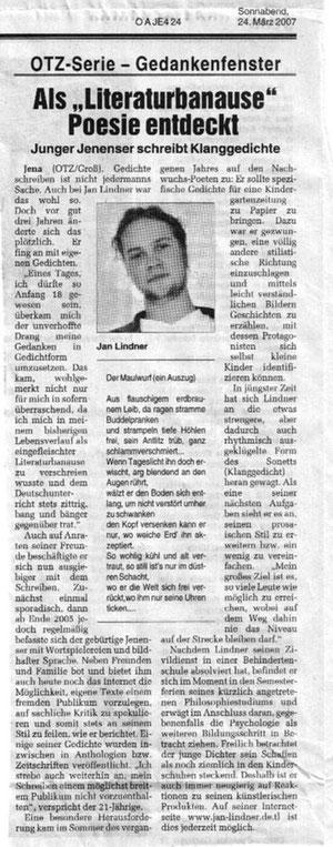 Zeitungsartikel zu Preisträger Jan Lindner beim Jenaer Gedankenfenster in der Ostthüringer Zeitung