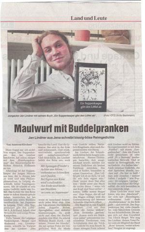 """Rezension zu Jan Lindners """"Ein Suppenkasper gibt den Löffel ab"""" in der Ostthüringer Zeitung"""