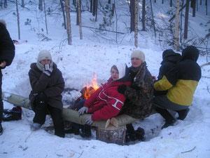 Лыжный поход. Стоянка